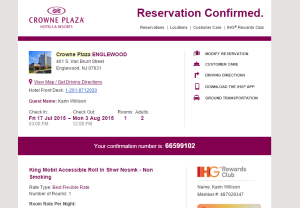 screenshot of my reservation confirmation for a roll-in shower room