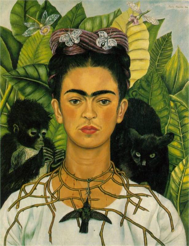 """Self-Portrait with Thorn Necklace and Hummingbird, featured in the """"Frida Kahlo: Art, Garden, Life"""" exhibition"""
