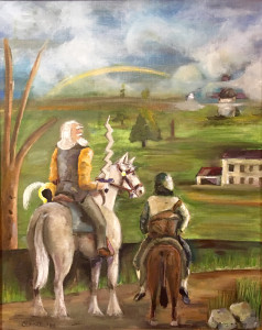 """Don Quixote and Sancho looking out at the countryside, with the inn/""""castle"""" and windmill in the distance."""