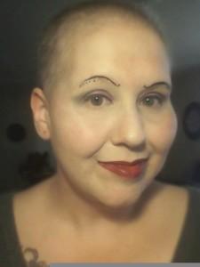 Brandy's creative eyebrow art during cancer treatment.