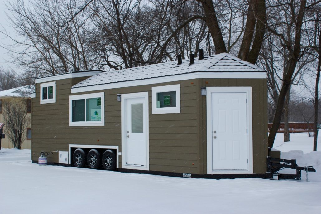 The NextDoor DropHome on a snowy day.