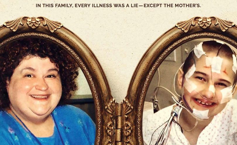 Poster for Mommy Dead and Dearest. Dee Dee Blanchard has a smug smile, and her daughter's face is covered with tubes and bandages.