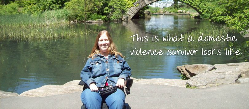 """Karin in Central Park, NYC with caption """"This is what a domestic violence survivor looks like."""""""