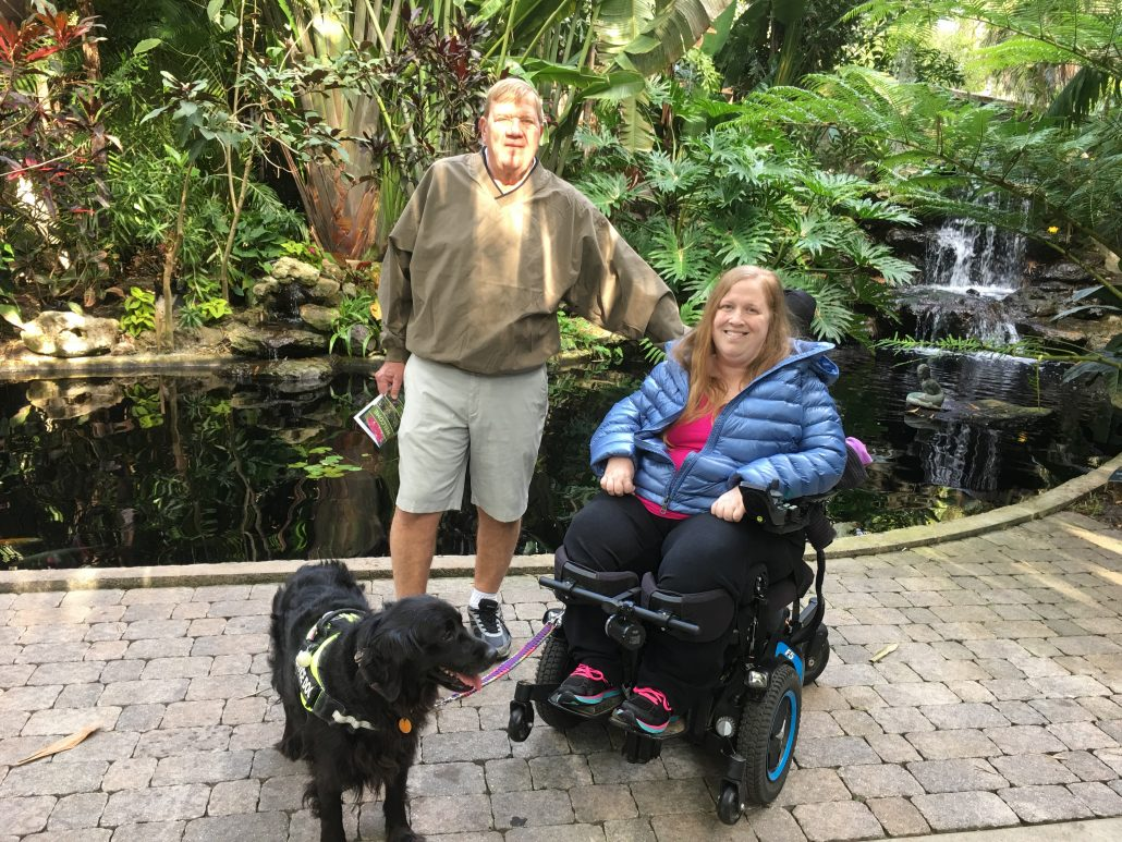 Karin and Dad enjoying Selby Gardens, a wheelchair accessible botanical garden park in Sarasota, Florida.
