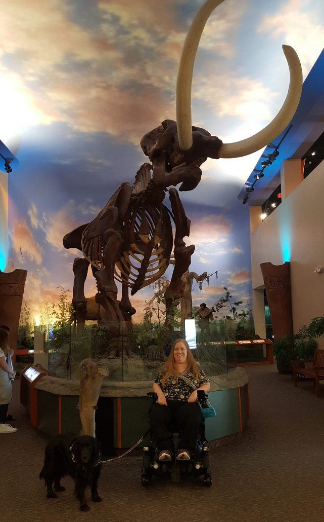 Karin and Aria with a mastodon skeleton at the South Florida Museum, Bradenton, Florida.