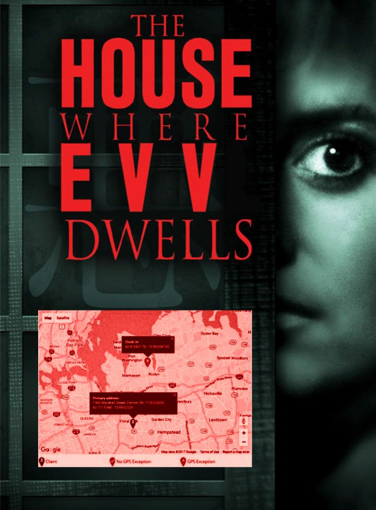 """EVV protest parody meme of a horror movie with frightened woman, GPS location map, """"The House Where EVV Dwells."""""""