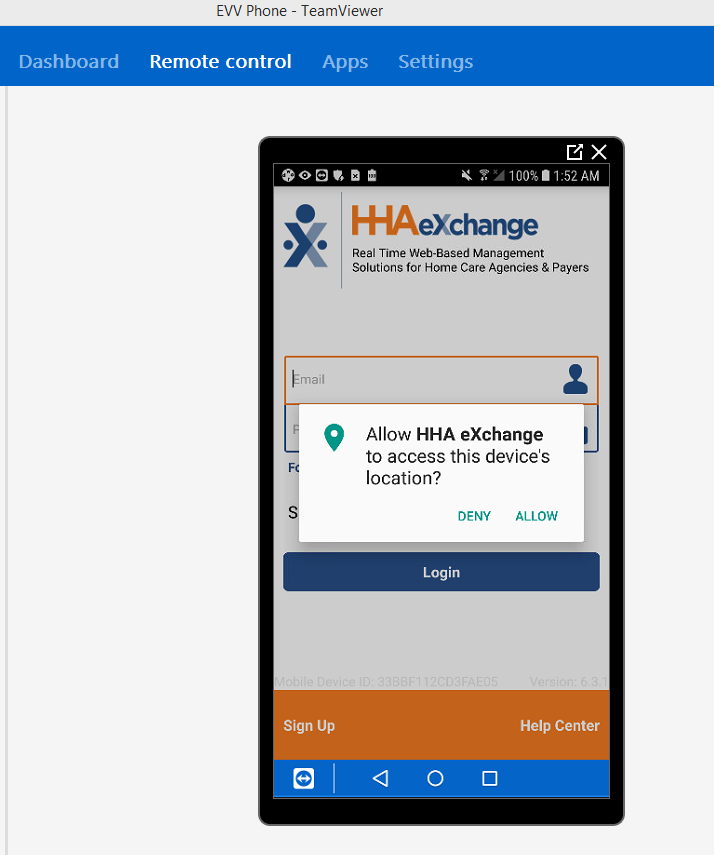 HHA exchange EVV app requesting GPS access -- but it's not a true request as the app won't work without it.